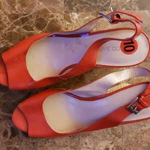 Sarto red wedges shoes size 10 cleaning closet